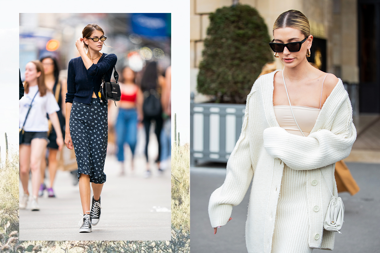 2020 fall winter fashion trends knitted cardigan styling tips fashion items super models Hailey Baldwin Bella Hadid Kendall Jenner Kaia Gerber