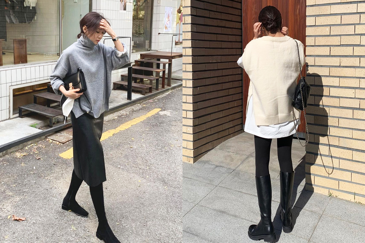 Korean Girls Fashion styling tips fashion trends 2020 fall winter leggings over knee boots