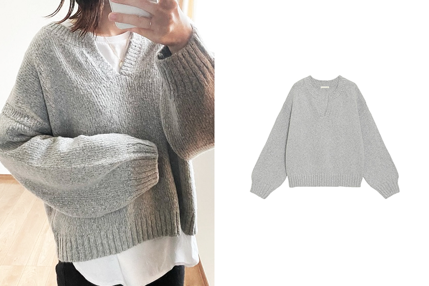 GU Melange key neck sweater 2020 fw instagram fashion