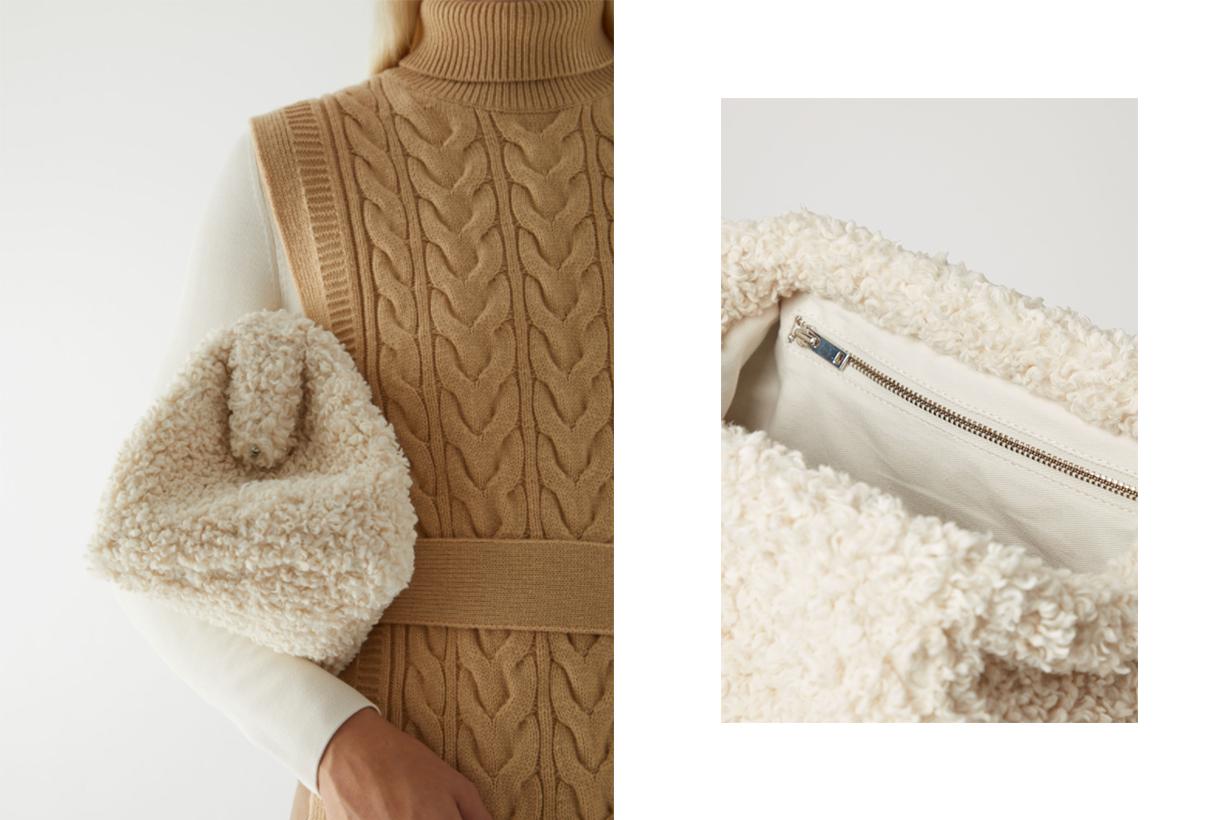 COS fleece teddy clutch