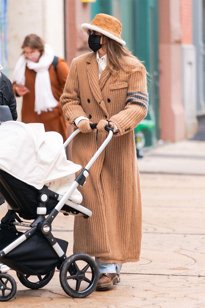Gigi Hadid Wears Louis Vuitton Furry Bucket Hat