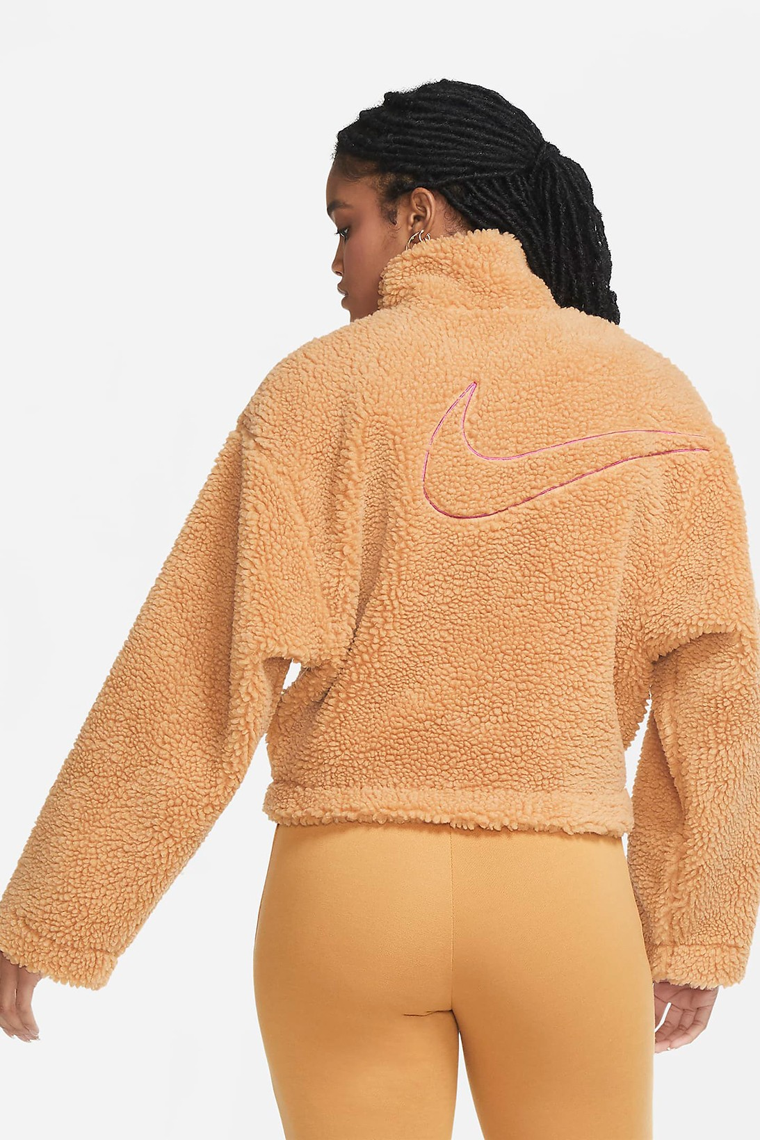 nike sportswear womens swoosh shearling fleece jacket outerwear pink white orange colorways 2020 fw