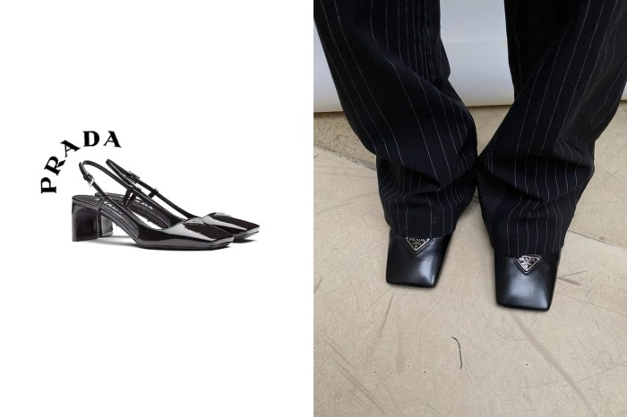 不能遺漏 Prada 後繫帶方頭鞋,褲腳下隱約露出剛好的優雅個性!