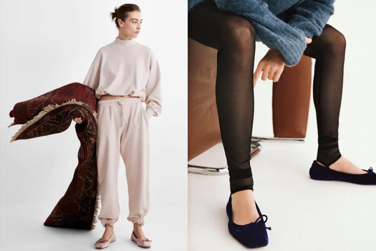 Zara Velvet Ballerina Flats