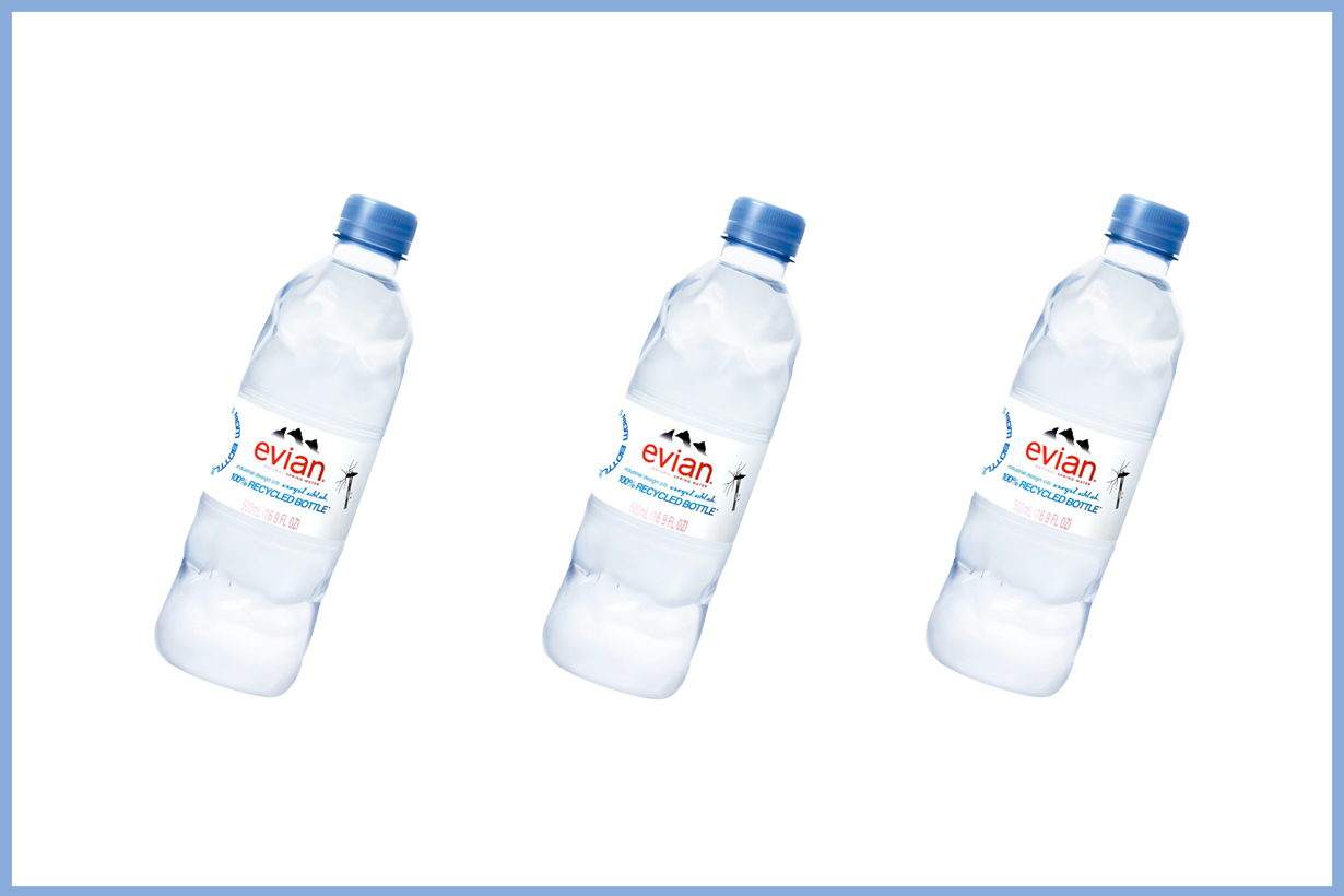 evian virgil abloh new design bottle water recycled