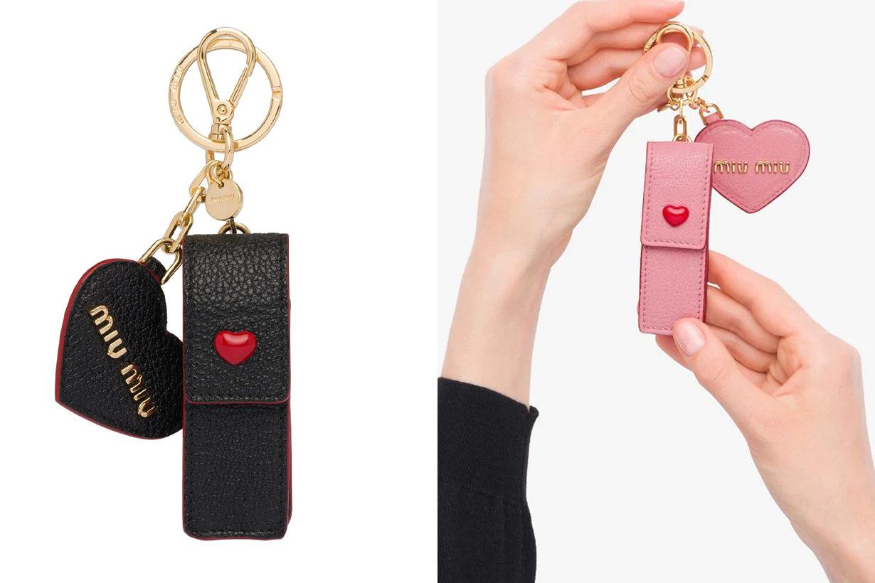 Miu Miu logo plaque keychain heart lipstick case keyring Valentine's Day 2021 Gift Guidance Presents