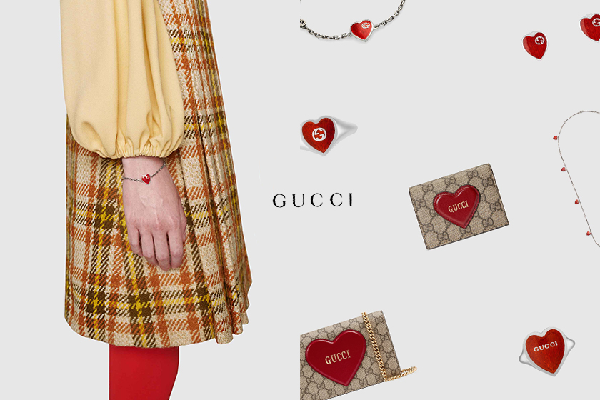 Gucci valentines day collection campaign bag heart jewelry lipstick makeup release 2021