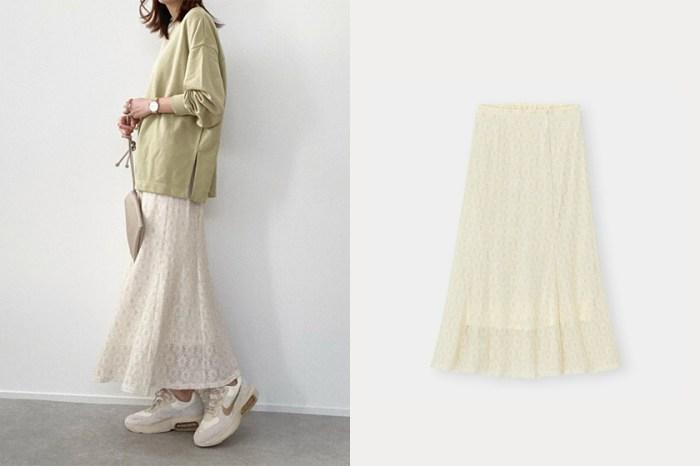 一件就能搭配優雅率性兩種風格:日本女生也在穿 GU 這件裸色花瓣裙!