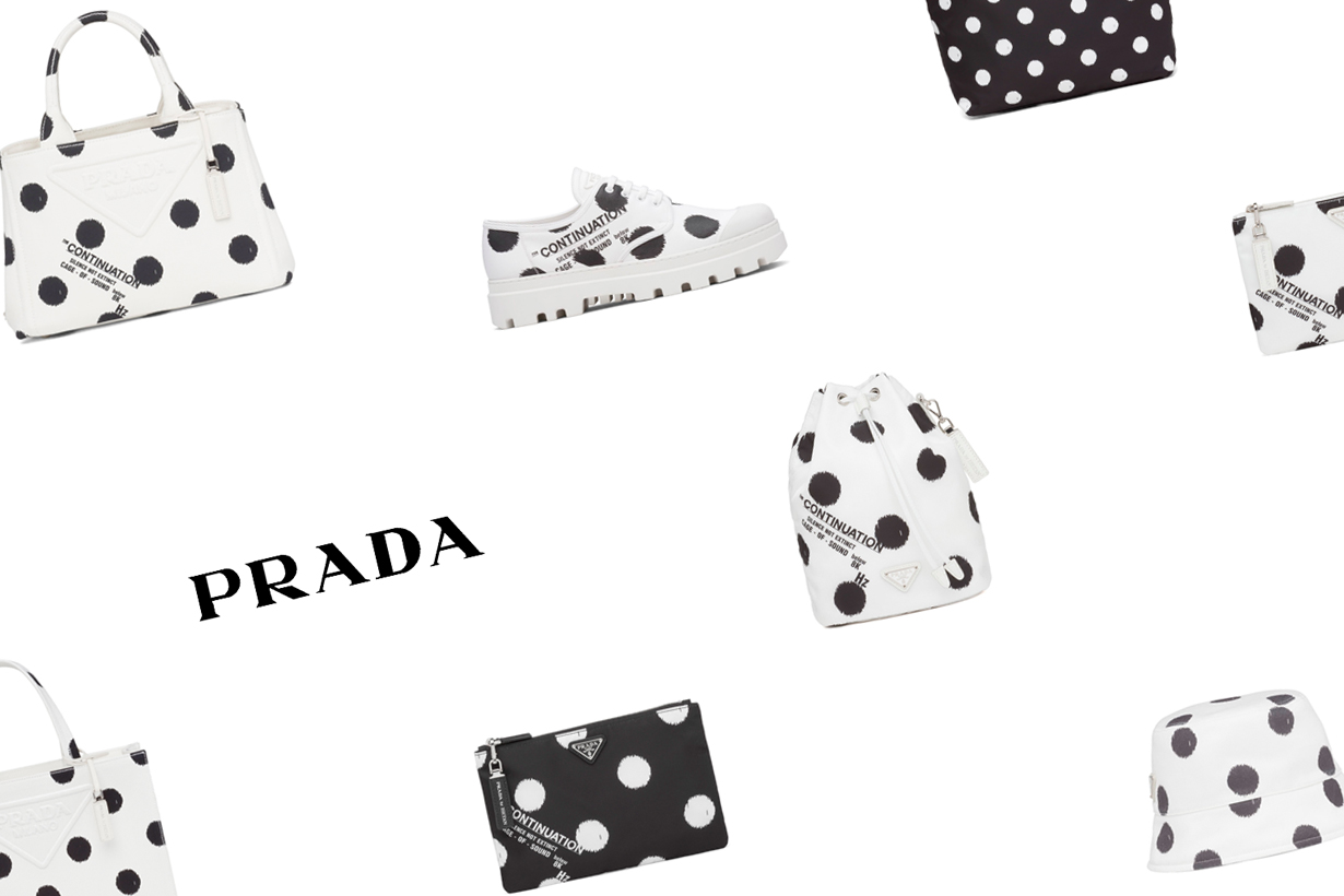 prada 2021 ss raf dots handbags Miuccia sneakers hat