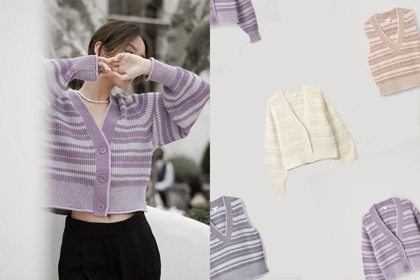cos striped v-neck cardigan vest 2021ss