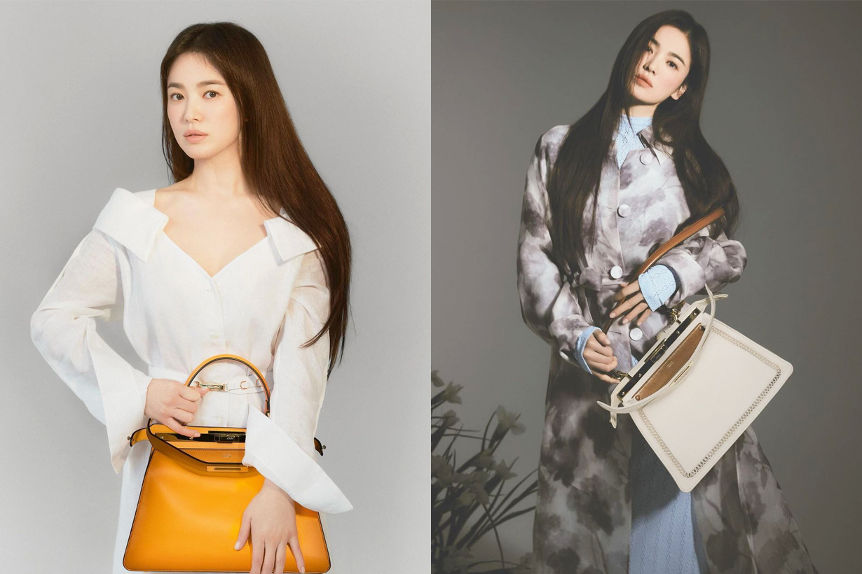 Song Hye Kyo Fendi Korean Brand Ambassador Handbags Trend Peekaboo Karligraphy Tresor Bucket Bag Kan U Shoulder Bag Baguette