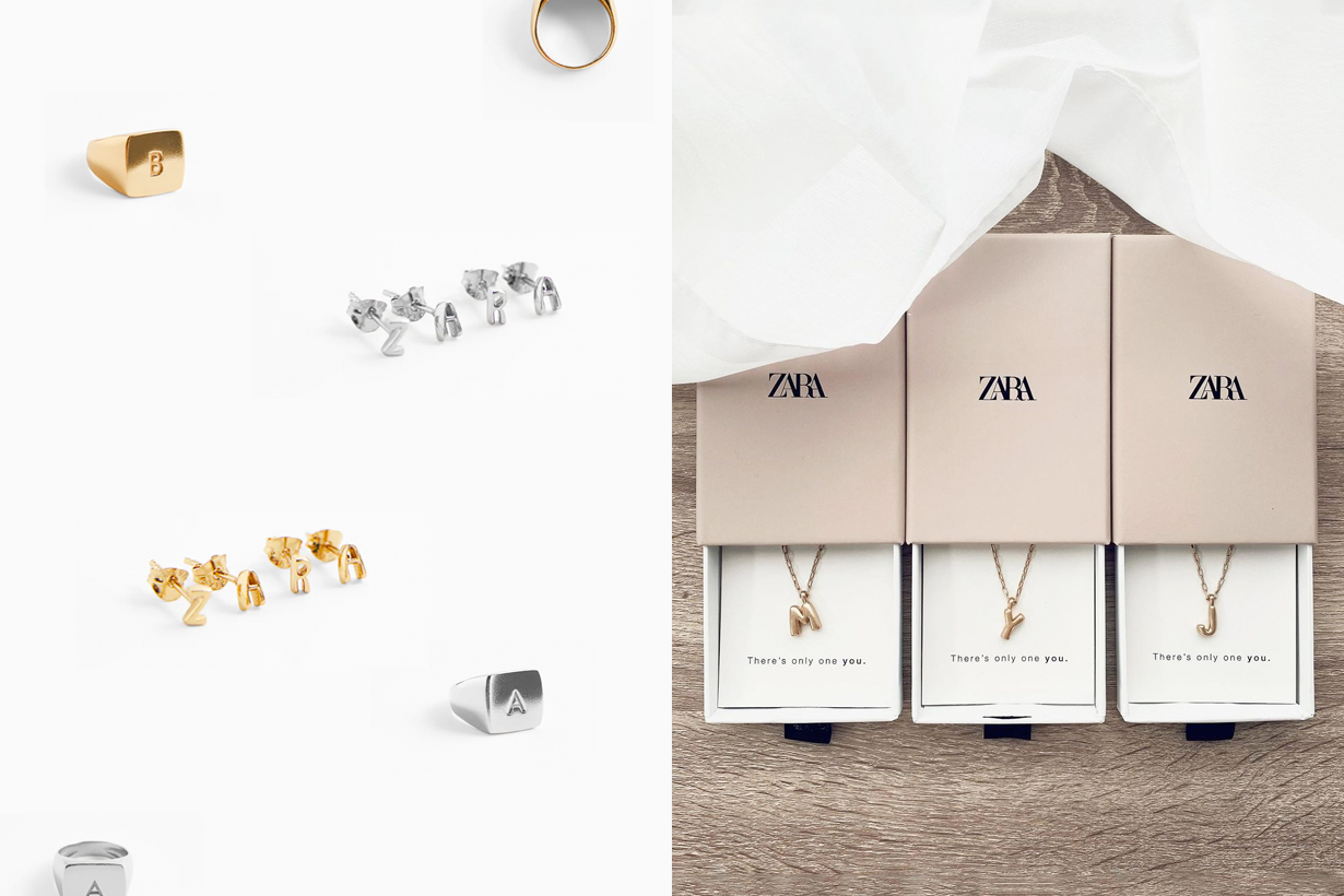 zara alphabet necklace ring earrings 2021 new collection