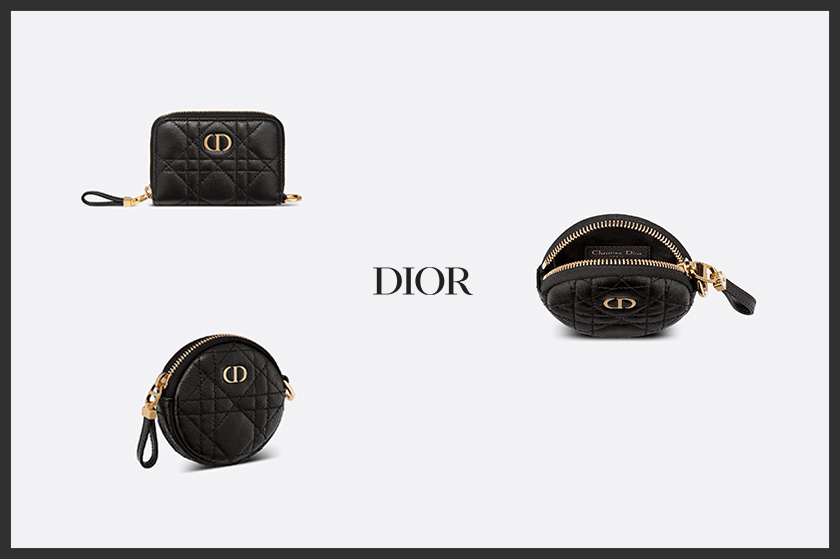 dior caro small leather goods card holder wallets 2021ss