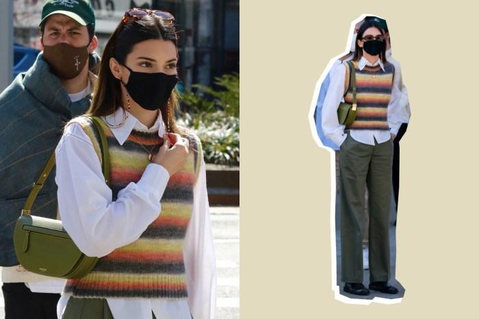 Mango 背心搭 Burberry 手袋,Kendall 一身老爺爺造型穿得時髦!