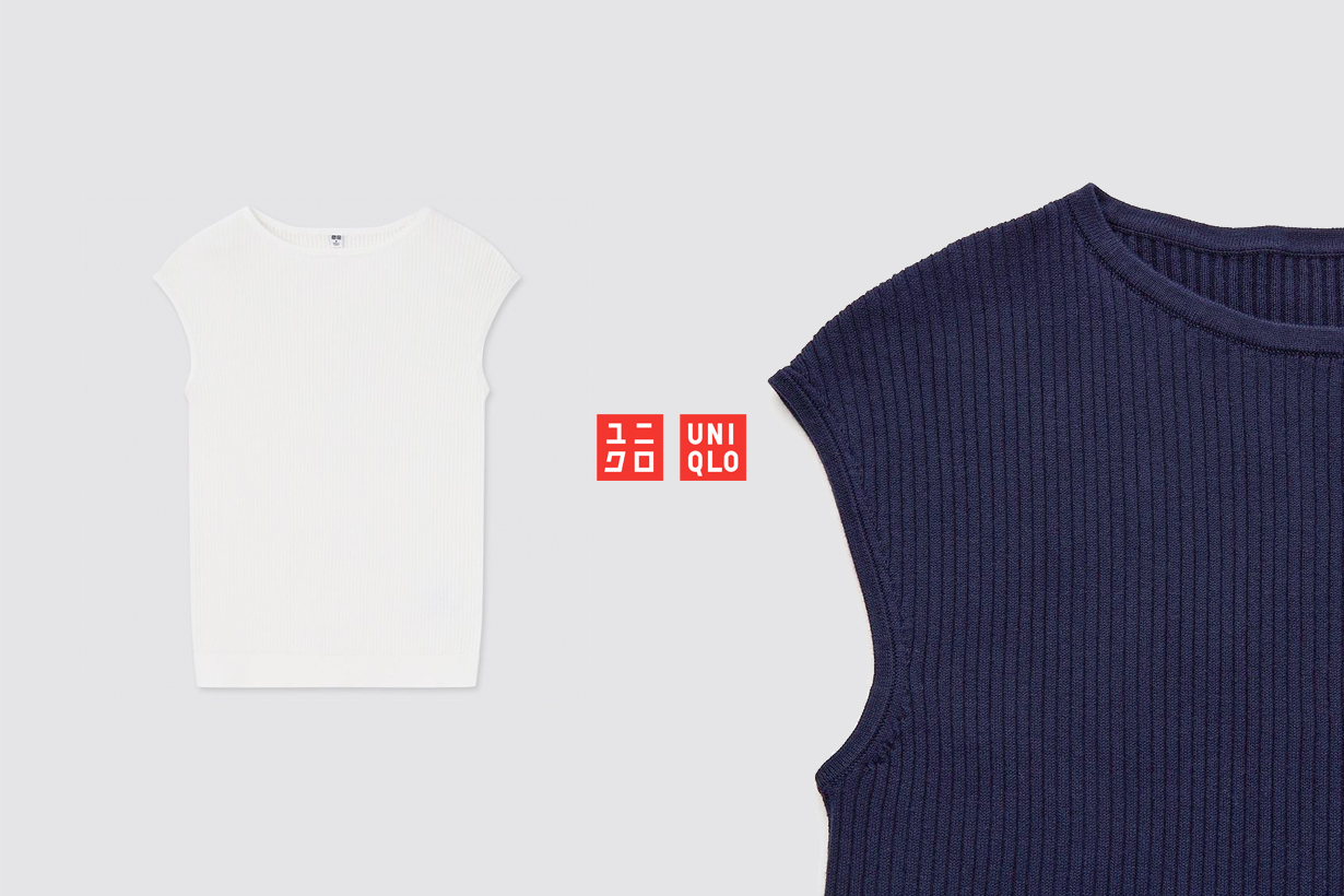 uniqlo tops 2021 ss knit thiner supima cotton french sleeve