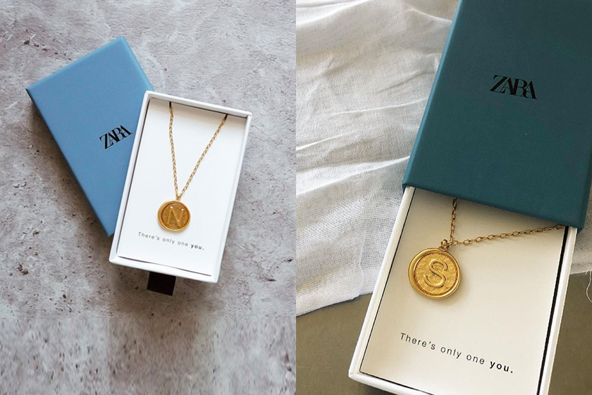 zara medallion necklace with initial detail 2021