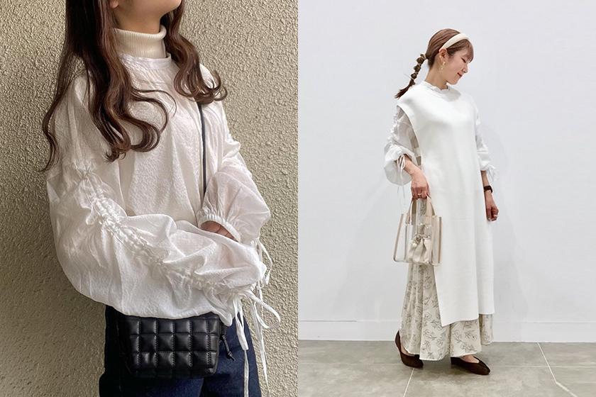 GU Sheard low string sleeve blouse 2021ss