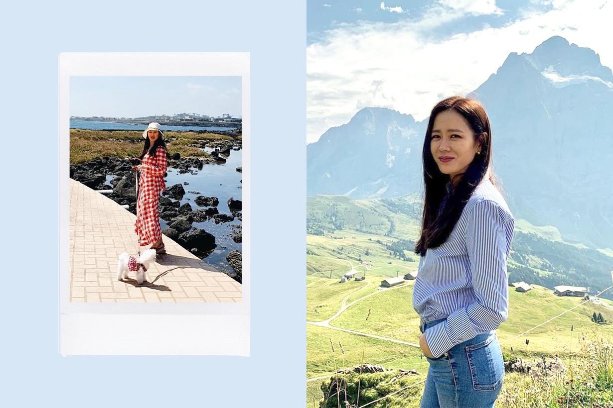 Son Ye Jin Hyun Bin Celebrities couples Jeju dating Mina celebrities pets gingham dress korean idols celebrities actors actresses