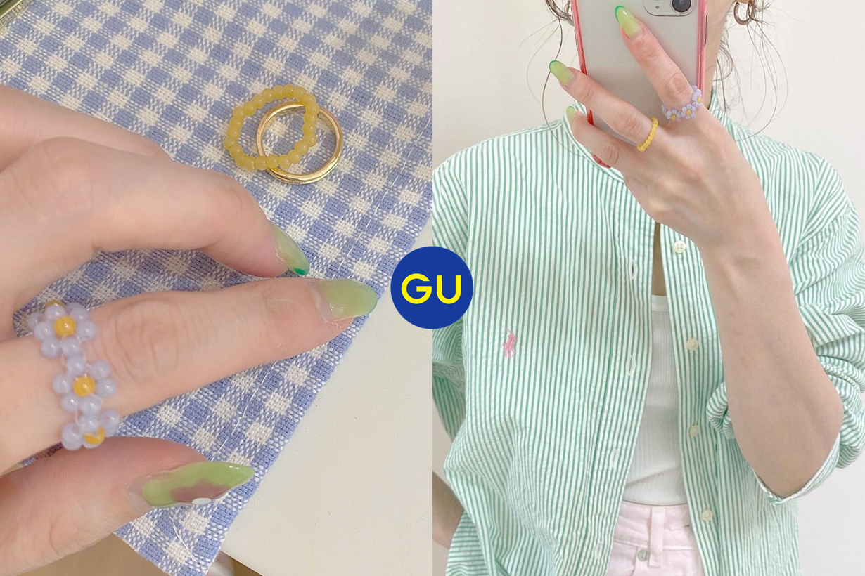 gu flower rings set 3 japan summer accessory