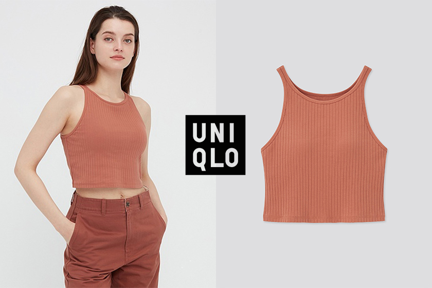 Uniqlo WOMEN WIDE RIBBED CROPPED BRA SLEEVELESS TOP