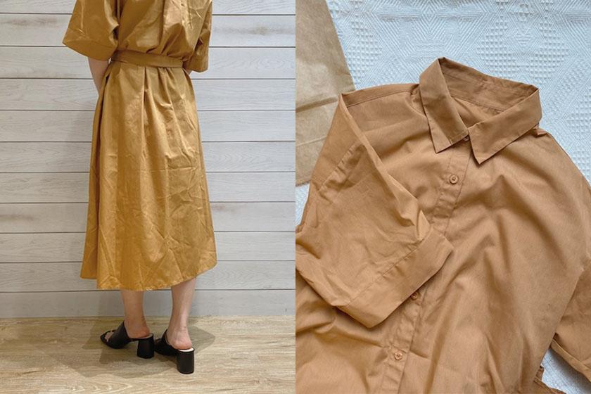 GU 5-quarter sleeve Shirt dress 2021ss