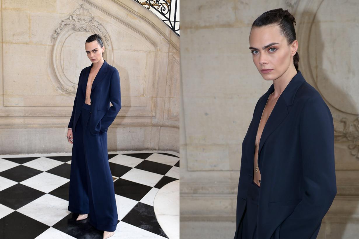 cara delevingne dior suit look 2021 paris haute couture