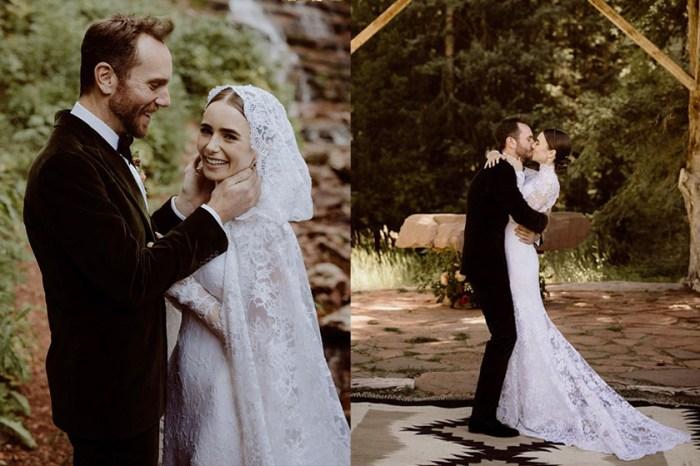 美到如童話成真,Lily Collins 一襲蕾絲婚紗:「現在我想成為你的妻子」