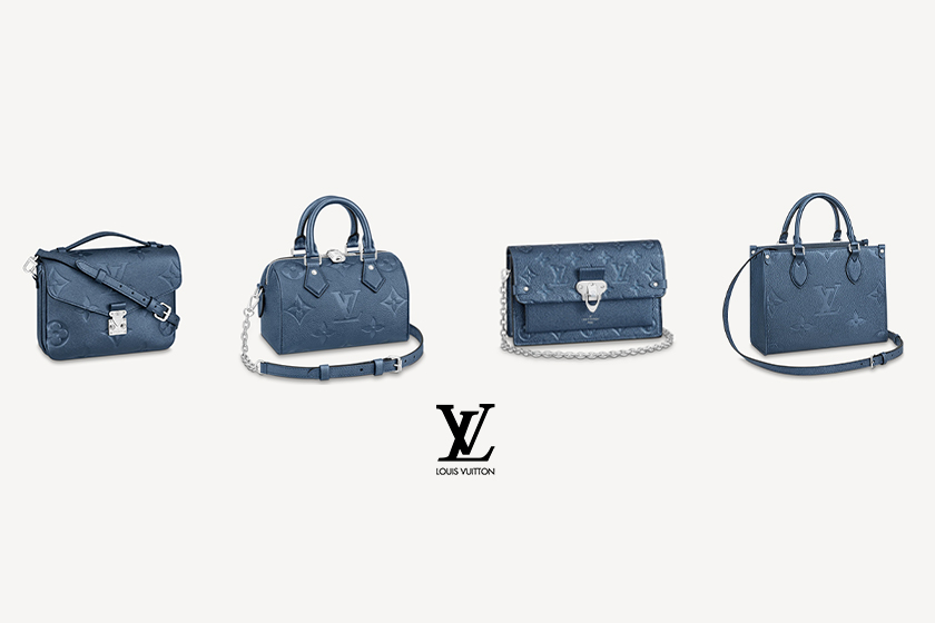 New navy colour changes LV Monogram embossed pattern