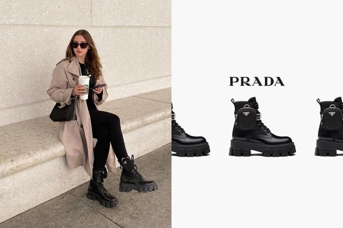 買鞋子還附送迷你袋?Prada 的 1 + 1 軍裝風短靴正被時尚博主熱烈追捧!