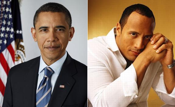 Barack Obama and Dwayne Johnson