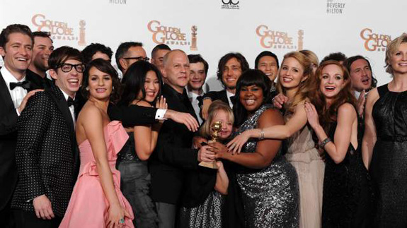 The cast of Glee and Ryan Murphy