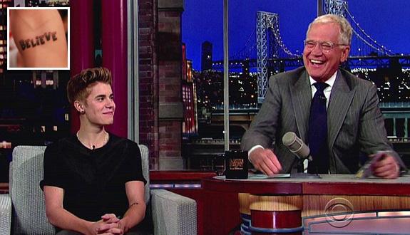 Justin Bieber and David Letterman