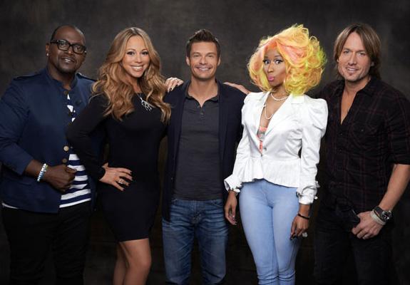 Randy Jackson, Mariah Carey, Ryan Seacrest, Nicki Minaj, and Keith Urban