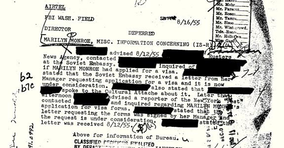 Marilyn Monroe's FBI file