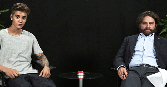 Zach Galifianakis and Justin Bieber