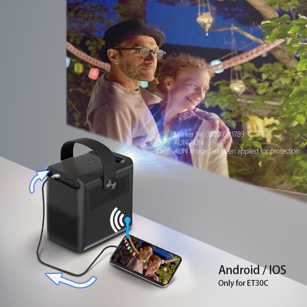 AUN ET30 Full HD Projector 1920x1080P Android WIFI MINI Projector for Home Theater Phone LED Video Beamer 4k via HDMI 7800mAH