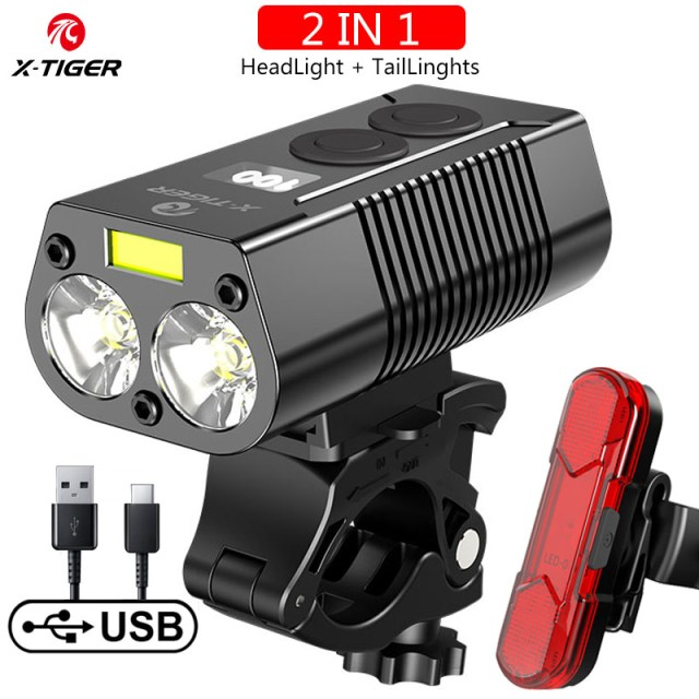 X-Tiger Bike Light Headlight Bicycle Lamp With Power Bank Rechargeable LED 5200mAh MTB Bicycle Light Flashlight Bike Accessories