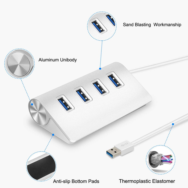 USB HUB 3.0 multi 4 7 port with power adapter for xiaomi macbook pro air computer PC laptop accessories adaptador USB 3 hab