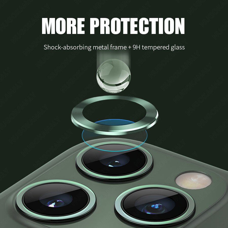 For iPhone 12 11 Pro Max Back Camera Lens Tempered Glass Screen Protector For iPhone 11 12 Mini Case Cover Metal Protection Ring