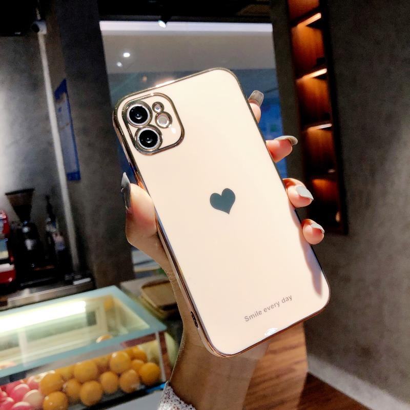 Electroplated love heart Phone Case For iPhone 12Pro 12 11 Pro Max XR XS X XS Max 7 8 Plus Shockproof Protective Back Cover capa