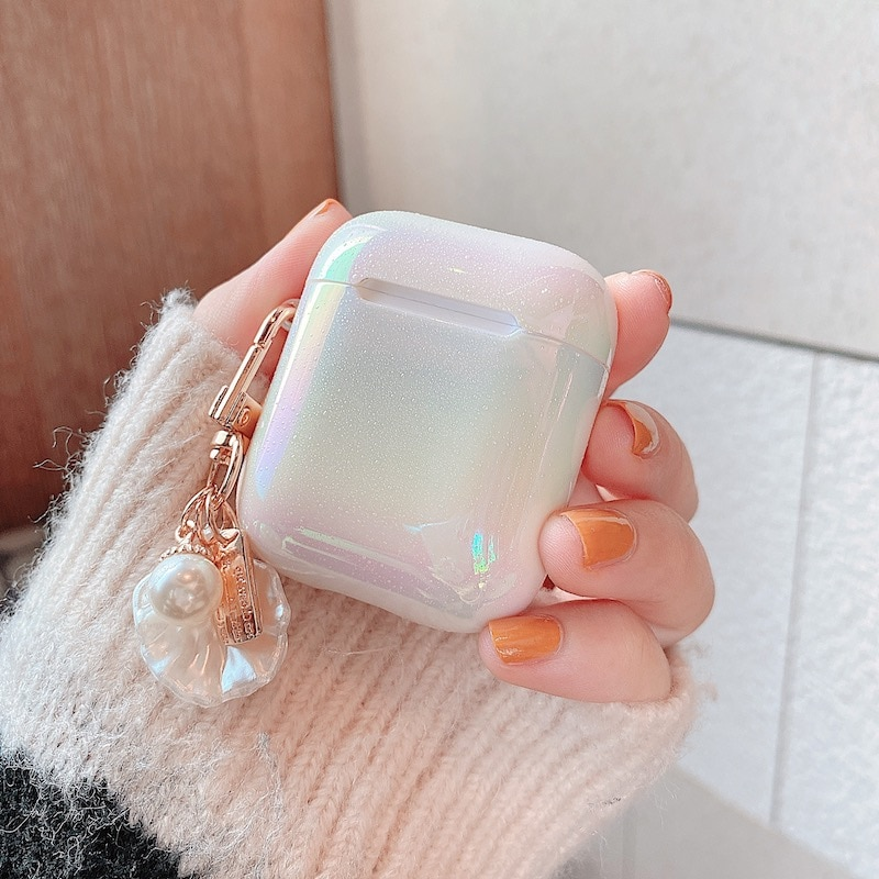 3D Love Pearl Shell Keychain Water Drop Rainbow Hard Headphone Earphone case for apple airpods 1 2 3 pro Wireless Headset cover