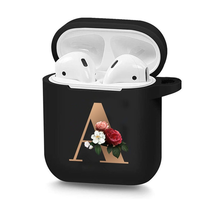 Cute Floral Gold Initial Alphabet Letter Soft Case For AirPods 2 1 Black Silicone Wireless Bluetooth Earphone Box Matte Cover