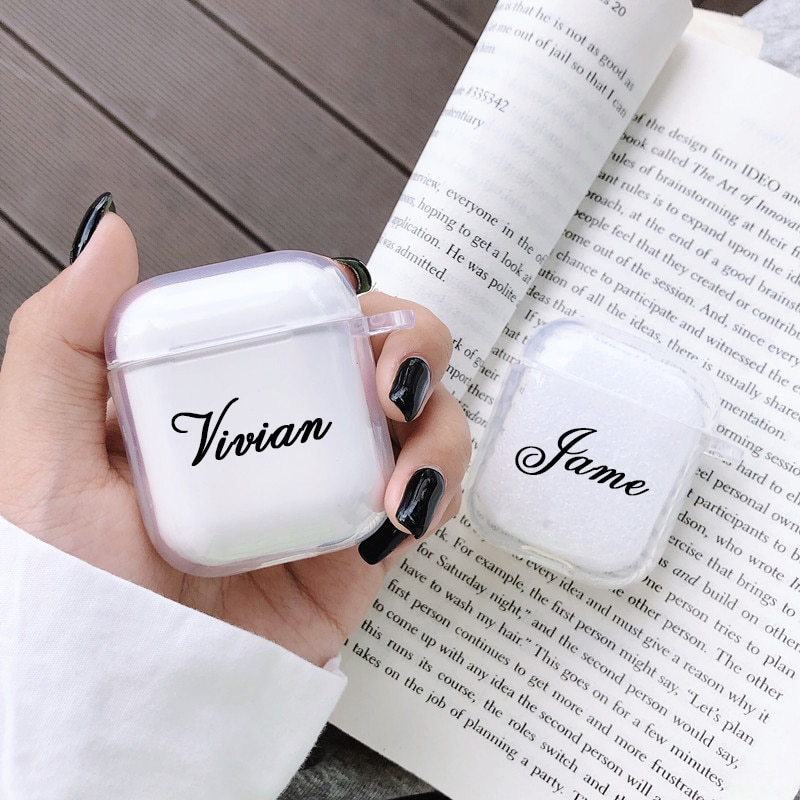 Custom name/logo/image Soft Silicone Case for Air Pods Case for Bluetooth Wireless Airpod Cover DIY Customized Photo Letters Hot