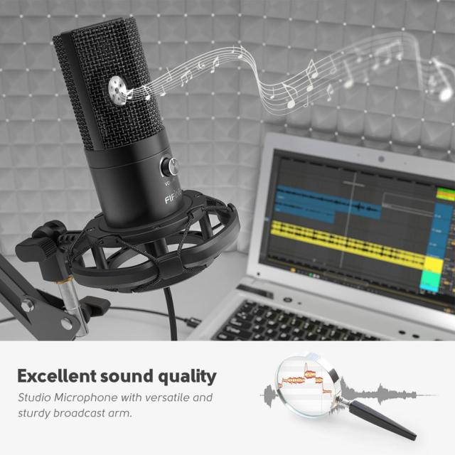 FIFINE Studio Condenser USB Computer Microphone Kit With Adjustable Scissor Arm Stand Shock Mount for YouTube Voice Overs-T669