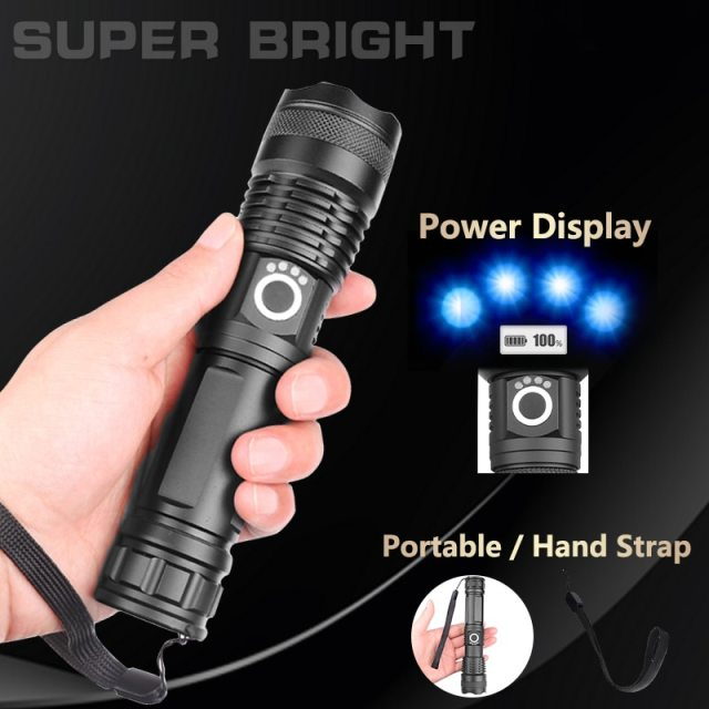 Most powerful flashlight 5 Modes usb Zoom led torch xhp50 18650 or 26650 battery Best Camping, Outdoor