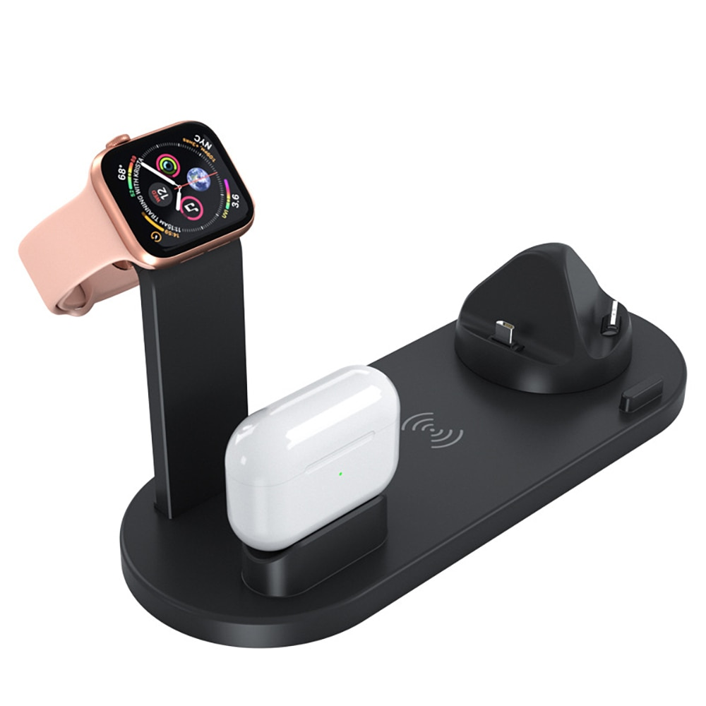 Qi 4 in 1 Wireless Charger For iPhone Charging Dock Station For Apple Watch Airpods Charger Micro USB Type C Stand Fast Charging