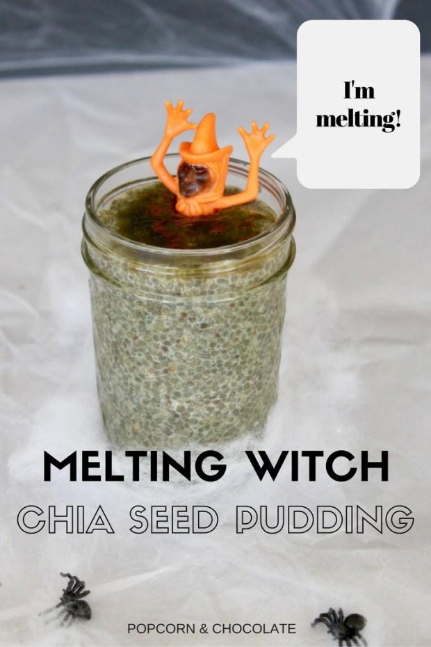 Melting Witch Matcha Chia Seed Pudding | Popcorn & Chocolate