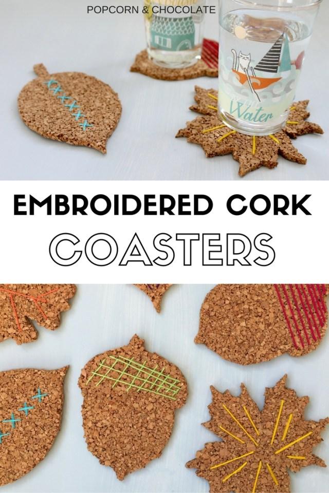 Embroidered Cork Coasters   Popcorn & Chocolate