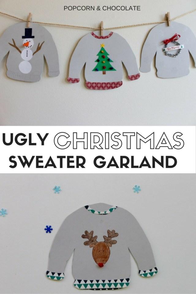 DIY ugly Christmas sweater garland and gift tags | Popcorn & Chocolate
