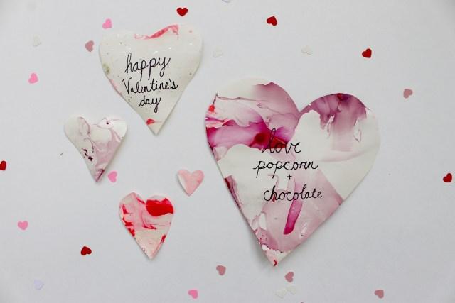 DIY Valentine's Day Marbled Hearts   Popcorn & Chocolate
